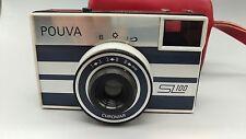 Vintage POUVA SL100, Utiliza Cartuchos De Agfa rápido con estuche de cuero rojo! buenas!