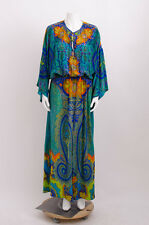 CAMILLA FRANKS Green Blue Orange Presley Print Dolman Sleeve Maxi Long Dress M