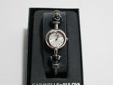 Caravelle by Bulova Ladies Glass Bead and Swarovski Crystal Watch - Silver/Black