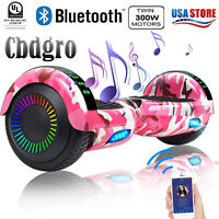 "6.5"" Bluetooth Hoverboard LED Self Balancing Scooter Christmas Pink Camo Bag"