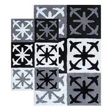 Columbia 2 Piece Bath Rug Set - 21 In. x34 In. and 27 In. x45 In. Black & White