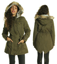LADIES WOMENS KHAKI MILITARY FISHTAIL FUR HOODED PU PARKA JACKET 8 10 12 14 16