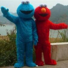 NEW Adult Sesame Street Elmo RED BLUE Monster Mascot Fancy Dress Costume outfit