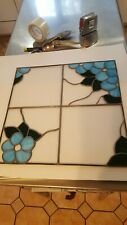"""Stained Glass Floral Design Panel approx 16 3/8 """" Tiffany style handmade leaded"""