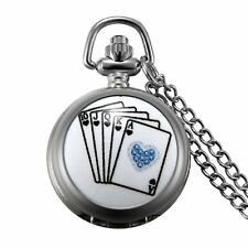 """Flush Poker Playing Card Charm Quartz Pocket Watch with 32"""" Chain Mens Necklace"""