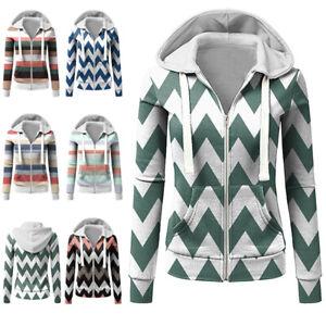 AU Womens Long Sleeve Zip Up Hooded Sweatshirt Ladies Baggy Striped Hoodies Tops