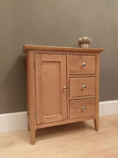 Bergen Light Oak Large 1 Door Cupboard / Solid Wood Mini Sideboard - Scandi