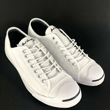 CONVERSE Jack Purcell Mens 9.5 Canvas Bright White Sneakers Lace Up Shoes New
