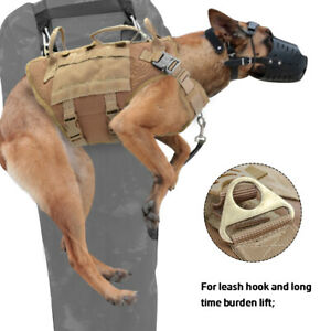 Military Dog Training Harness K9 Tactical Molle Service Pouch Bag & Vest Harness