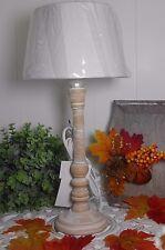 Tischlampe Tischleuchte Landhaus Vintage Shabby white wash Holz E 27 A++ 42 cm