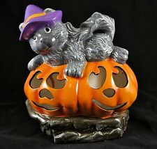 QVC Home Reflections Cat Pumkin Halloween Luminary Flameless Candle H200961