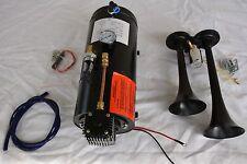 BLACK Train Horn Kit Loud Dual Trumpet + 150 PSI Air Compressor Complete System
