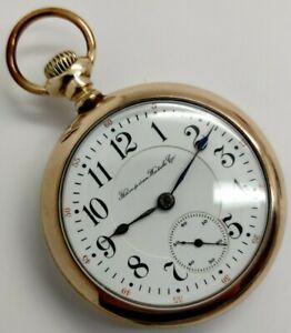 Vintage Hampden The Dueber 21 jewel 18s RR Railroad grade pocket watch Running