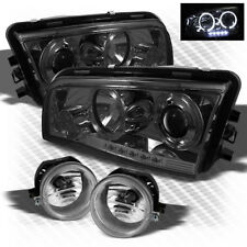 For Smoked 06-10 Dodge Charger Halo LED Projector Headlights+Fog Lights Lamp