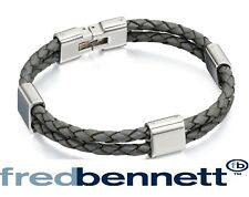 Fred Bennett Grey Double Wrap Bracelet Stainless Steel Trim & Clasp 21.5cm