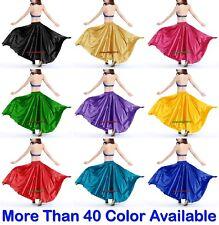 360 Full Circle Satin Long Skirt Swing Tribal Belly Dance Costume Oriental Jupe