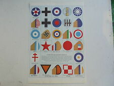 vintage print/picture of allied and axis air force markings,2nd world war,1940