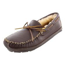 Minnetonka Men's Chocolate Leather w/ Sheepskin-Lined Lace Up Moose Slippers 8 M