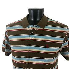 Original Penguin Mens Red Brown Blue White Striped S/S Polo Shirt XL