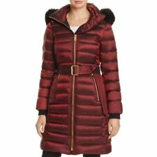 Burberry London Limefield Long Down Puffer Coat Jacket Fur NWT XS Burgundy $1895