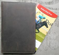 'Turf Jockey' Horse Racing Race card Holder Cover Rugged Hunters Hide Leather.