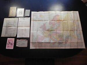 Rare Europe Circa 1930's Rand McNally Pocket Map with Travelers Itinerary & More