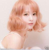 Harajuku Lady Short Curly Pink Wig Lolita Wavy  Hair  Cosplay Costume Party Wig