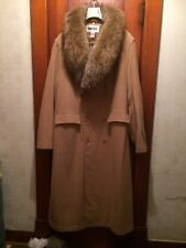 REDUCED!!!  Men's Long Wool Blend Coat Large Racoon Fur Collar XL