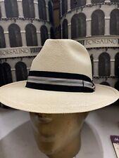 Tesi Panama Men's Fedora Straw Hat Made In Italy Size 7 5/8