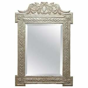STUNNING INDIAN SILVER REPOUSE WALL MIRROR WITH ORNATELY CAST & DETAILED FRAME