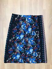 Tu Corduroy Cord A-line Floral Black blue Skirt Autumn autumnal folk retro 20