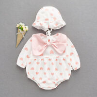 baby infant girl clothes cotton bodysuit +hat soft cotton cute bodysuit bow