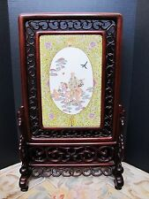 Antique Chinese longevity porcelain Tile mounted table screen 晚清粉彩人物瓷板插屏73cm H