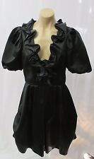 CHRISTIAN LACROIX Black Cocktail Dress with Ruffled Neckline & Short Sleeves  42