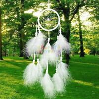 Handmade Feathers Dream Catcher Car Wall Hanging Decoration Ornament Gift White
