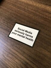 social media seriously harms your mental health sticker label phone 2pcs