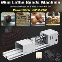 24V 96W Mini Lathe Beads Polisher Machine for Wood Woodworking DIY Rotary Tools