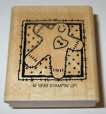 Gingerbread Man Rubber Stamp Heart Button Stampin' Up! Retired Christmas Cookie