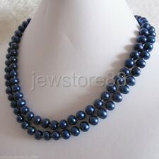 """34"""" 7-9mm Navy blue AA Freshwater Pearl Necklace Strand Jewelry"""