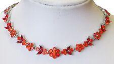 Coral austrian crystal necklace