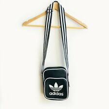 ADIDAS Mini Originals Vtg Man Bag Unisex Blk Faux Leather Crossbody Shoulder