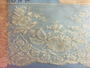 """Antique Silk Lace Trim Cream Chantilly Floral Scallop Edge By the Yard x 7"""" Wide"""