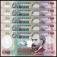 Lot 5 PCS, Uruguay 50 Pesos, 2020, P-New, Serie A, Polymer, Banknotes, UNC