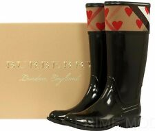 NEW BURBERRY CROSSHILL HEART HOUSE CHECK RAIN RUBBER BOOTS SHOES 36/US 6