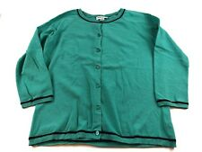 WOMENS Pendleton Turquoise 3/4 Sleeve Button Up Cardigan with Black Trim SIZE M