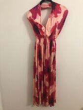 Celine Paris Pink Floral Halter Wrap Dress SZ Small