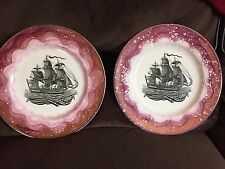 Gray's Pottery Stoke-on-trent Ship Schooner Purple Lusterware plate