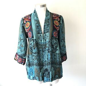 Soft Surroundings Small Istanbul Jacket Embroidered Cardigan Teal Tapestry