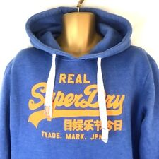 Superdry Men's Hoodie Real Superdry Trade. Mark. Jpn. Blue Orange Spell-Out  M