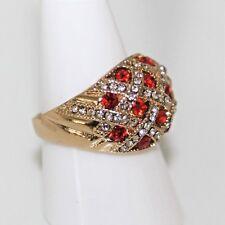 Prachtvoll Herren Damen Ring Gold 14K GF (585) Rubin Granat rot Gr 54 Ø 17,2 mm